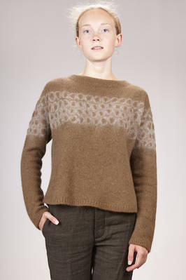 hip-length sweater in very soft cashmere knitting dyed with yatara miura shibori technique  - 352