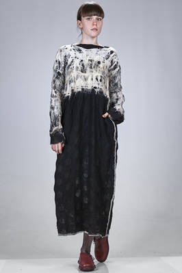 long dress hand made in nuno felt of silk and merinos wool with contrasting colour pattern  - 344