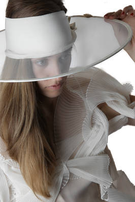 wide brim tulle and silk band hat  - 228
