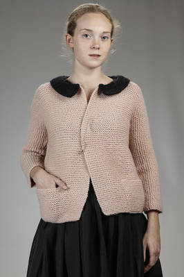 hip length cardigan in knitted hand wool  - 195