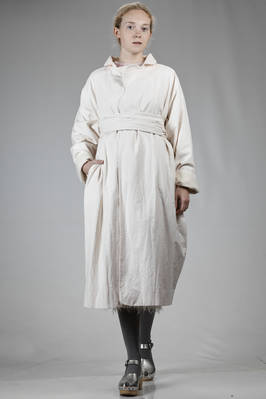 wide long coat in washed canvas cotton at hand peach, doubled on cashmere gauze  - 195
