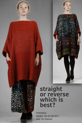 wide tunic in melange cashmere grid and in silk crêpe de chine with abstract 'pomegranate' printed  - 195