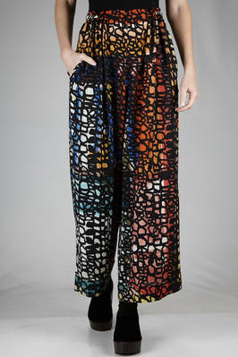 wide trousers in silk crêpe de chine with abstract 'pomegranate' printed  - 195