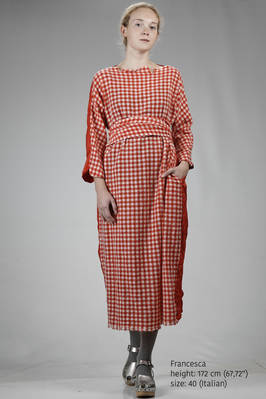 long and wide dress in super soft cashmere gauze an silk taffetas  - 195
