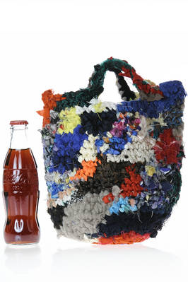 small bucket shaped crocheted bag in multicolored wool tightly woven knit  - 195