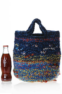 medium bucket shaped crocheted bag in multicolored wool tightly woven knit  - 195