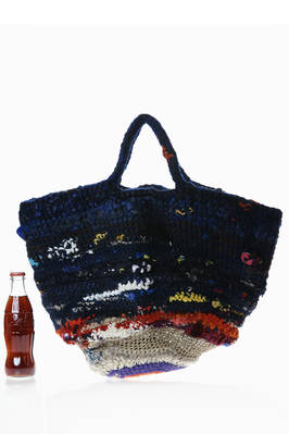 big oval crocheted bag in multicolored wool tightly woven knit  - 195