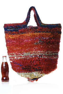 big bucket shaped crocheted bag in multicolored wool tightly woven knit  - 195