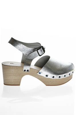 clog in silver cowhide leather  - 195