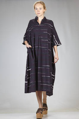 longuette wide dress in washed cotton canvas with horizontal stripes print  - 195