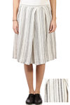 striped linen pleated skirt  -