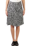 hound's-tooth pattern with flowers printed skirt  -