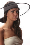 wide brim tulle and silk band hat  -