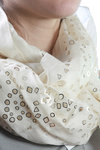 laser cut and silver print scarf  -