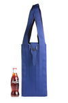 two tone wide pleated polyester shopping bag  -