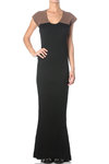 fishtail hem full length dress  -