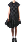 dot pattern jacquard short dress  -