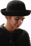 fur felt medium brimmed hat  -