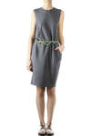 knit cotton asymmetric dress with belt  -