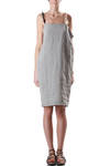 linen dress with hand-made cashmere straps  -