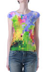 pleated top in multicolor mosaic pattern  -