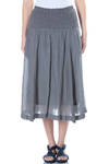 crinkled hips band panelled skirt  -