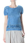 pleated top in printed stone wash denim design  -