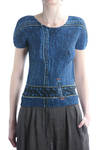 pleated top in printed washed denim design  -