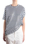 cloudlike shape striped t-shirt  -