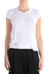 fold and frills hem cotton t-shirt  -