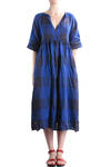 double layer large check linen dress  -