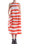 stripes dress in light silk taffeta  -