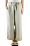 linen canvas wide trousers  -