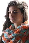 checked shawl in creased linen gauze  -