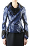 short jacket in glossy ripstop with mesh inserts  -