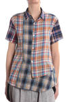 cotton indian checks patch unbalanced shirt  -
