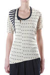dot jacquard and striped jersey t-shirt  -