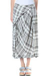 viscose check tulip shape skirt  -
