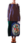 unique dress in silk taffeta with precious embroidery  -