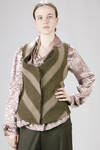 Fitted-at-the-waist waistcoat in Chevron and large strip of Shetland wool - VIVIENNE WESTWOOD - Red