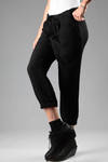 Trousers in wool, viscose cotton and acrylic fabric with canneté effect  - 161