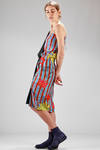 silk knee-length dress with 'cartoon' printing and plain panel - VIVIENNE WESTWOOD - Gold