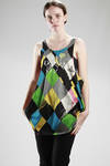 oversize vest in cotton jersey with badly dyed 'Harlequin' printing - VIVIENNE WESTWOOD - Gold