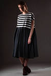 wide dress in horizontal striped cotton jersey and linen canvas  - 277