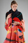 hand-made rectangular shawl in multicolour patchwork wool  - 195