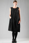 calf-length dress in wool and silk sateen with jacquard cotton lace inserts  - 48