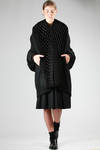 wide coat in wool cloth with honeycomb origami in wool jersey  - 74