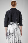 short jacket in light polyester cloth with small flowers laser carved - COMME des GARÇONS - COMME des GARÇONS