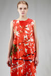 calf length dress in linen cloth with brushstrokes and removable small embroidered collar in silk taffetas - DANIELA GREGIS