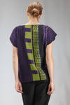 hip length top in smooth polyester cloth with multicolor graphic pattern - ISSEY MIYAKE